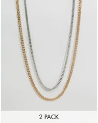 ASOS | Metallic Midweight Chain 2 Pack In Gold And Silver for Men | Lyst