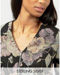ASOS | Metallic Sterling Silver Leaf Choker Necklace | Lyst