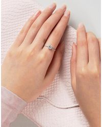 ASOS - Metallic Sterling Silver Crystal Etched Ring - Lyst