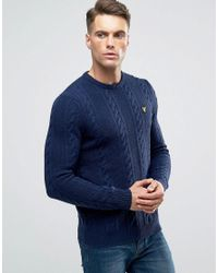 Lyle & Scott | Blue Crew Cable Knit Jumper Lambswool In Navy for Men | Lyst