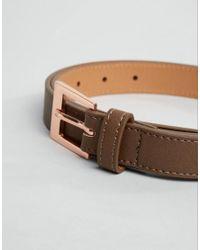 ASOS - Smart Slim Belt In Brown With Rose Gold Buckle for Men - Lyst