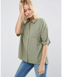 ASOS | Green Boxy Blouse In Crinkle | Lyst