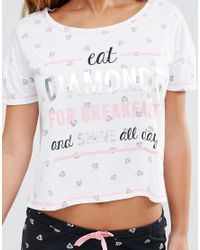 New Look - Diamonds For Breakfast Pyjama Set - Black - Lyst