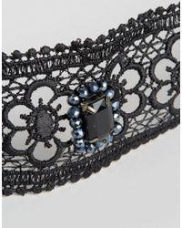 ASOS | Black Wide Jewel Fabric Choker Necklace | Lyst