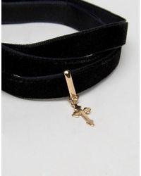 ASOS - Black Velvet Cross Multiway Wrap Choker Or Anklet - Lyst