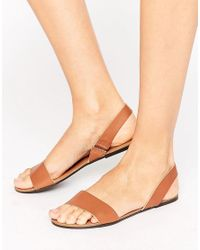 ASOS | Multicolor Faro Leather Sling Back Flat Sandals | Lyst