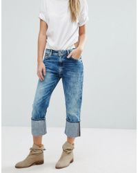 Pepe Jeans   Blue Donna High Turnup Cropped Jeans   Lyst
