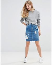 Pepe Jeans | Blue Penny Ripped Denim Pencil Skirt | Lyst