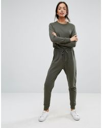 New Look - Green Sweat Jumpsuit - Lyst