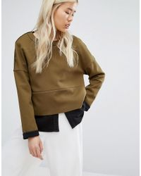 Native Youth - Green Panelled Sweatshirt With Contrast Turn Up - Lyst