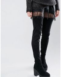 938fc6a8aa6c Truffle Collection Truffle Thigh High Chunky Boot in Black - Lyst