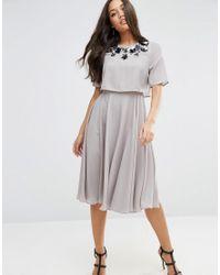 ASOS   Gray Embellished Crop Top Midi Skater Dress   Lyst