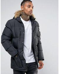 Criminal Damage | Black Parka With Faux Fur Hood for Men | Lyst