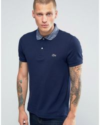 Lacoste | Blue Polo Shirt With Space Dye Collar In Navy Regular Fit for Men | Lyst