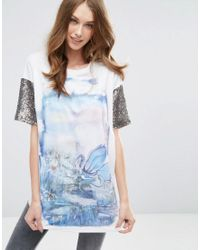 ASOS | White T-shirt With Hand Painted Print And Sequin Sleeves | Lyst