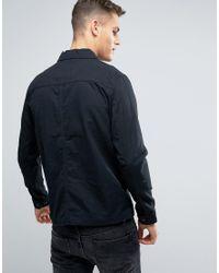 Jack & Jones - Black Vintage Overshirt Jacket With Military Pockets for Men - Lyst