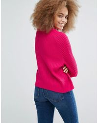 Monki | Pink Knitted Jumper With Rib | Lyst