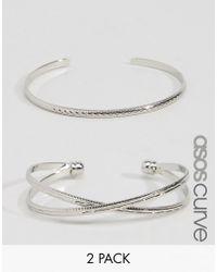 ASOS - Metallic Pack Of 2 Criss Cross Cuff Bracelet And Open Bangle - Lyst