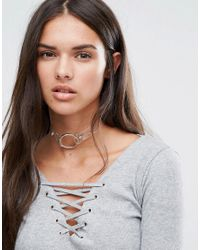 Boohoo - Metallic Clear Silver Ring Choker - Lyst