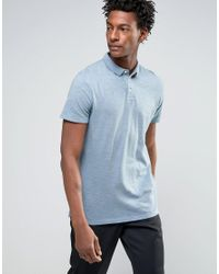 SELECTED | Blue Slim Fit Slub Jersey Polo Shirt With Overdye for Men | Lyst