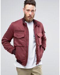 ASOS | Red Bomber Jacket With Funnel Neck In Burgundy for Men | Lyst