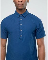 Bethnals - Blue Alex Short Sleeve Shirt With Half Placket for Men - Lyst