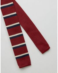 Original Penguin - Red Knitted Striped Tie for Men - Lyst