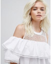New Look - White Cold Shoulder Mesh Dress - Lyst