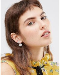 Oasis - Metallic Pave Disc Front To Back Earrings - Silver/crystal - Lyst