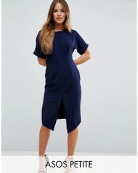 ASOS | Blue Smart Woven Dress With V Back And Split Front | Lyst