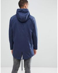 Only & Sons - Blue Cotton Twill Parka for Men - Lyst