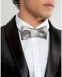 ASOS - Metallic Reversible Self Bow Tie In Silver And Black for Men - Lyst