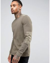 ASOS   Green Muscle Long Sleeve T-shirt With Pigment Wash In Waffle Fabric With Military Patches for Men   Lyst