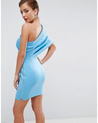 ASOS - Blue One Shoulder Scuba Deep Fold Mini Dress With Exposed Zip - Lyst
