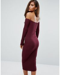 Missguided - Red Ribbed Bardot Bodycon Dress - Lyst