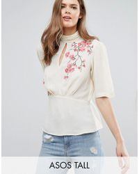 ASOS | Natural Tea Blouse With Embroidery | Lyst