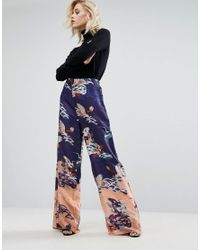 ASOS | Blue Bird Border Print Wide Leg Trousers | Lyst