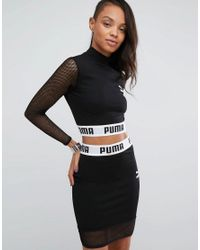 PUMA | Black Exclusive To Asos Cropped Mesh Top Co Ord | Lyst