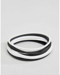 ASOS - Rubber Bracelet Pack In Black And White for Men - Lyst