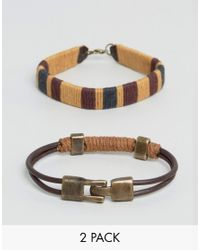 ASOS - Brown Bracelet Pack With Rope Detail for Men - Lyst