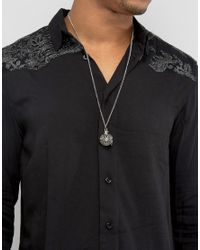 ASOS - Metallic Necklace In Silver With Caged Pendant for Men - Lyst