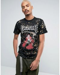 Reason | Black T-shirt With Skeleton Print And Bleach Splat for Men | Lyst