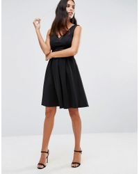 Girl In Mind - Black Kristin Ladder Detail Skater Dress - Lyst