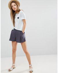ASOS | Blue Pleated Linen Culotte Shorts | Lyst