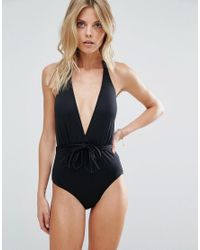 Seafolly - Black Deep V Maillot Swimsuit - Lyst