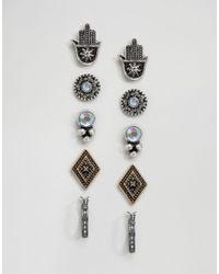 ASOS | Multicolor Pack Of 5 Hamsa Stud & Hoop Earrings | Lyst