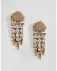 ASOS | Metallic Jewel Drop Spike Earrings | Lyst