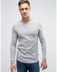 Bellfield | Gray Muscle Fit Long Sleeve T-shirt In Waffle for Men | Lyst