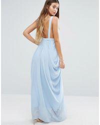 Vila   Blue Ruched Maxi Dress   Lyst