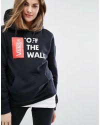 Vans | Oversized Pullover Off The Wall Logo Hoodie In Black | Lyst